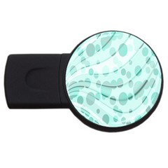 Abstract Background Teal Bubbles Abstract Background Of Waves Curves And Bubbles In Teal Green USB Flash Drive Round (1 GB)