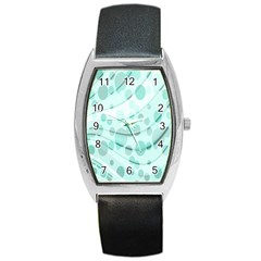 Abstract Background Teal Bubbles Abstract Background Of Waves Curves And Bubbles In Teal Green Barrel Style Metal Watch