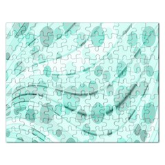 Abstract Background Teal Bubbles Abstract Background Of Waves Curves And Bubbles In Teal Green Rectangular Jigsaw Puzzl