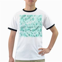Abstract Background Teal Bubbles Abstract Background Of Waves Curves And Bubbles In Teal Green Ringer T-Shirts
