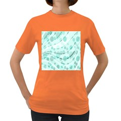 Abstract Background Teal Bubbles Abstract Background Of Waves Curves And Bubbles In Teal Green Women s Dark T-Shirt