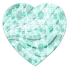 Abstract Background Teal Bubbles Abstract Background Of Waves Curves And Bubbles In Teal Green Jigsaw Puzzle (heart)