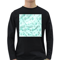 Abstract Background Teal Bubbles Abstract Background Of Waves Curves And Bubbles In Teal Green Long Sleeve Dark T-Shirts