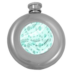 Abstract Background Teal Bubbles Abstract Background Of Waves Curves And Bubbles In Teal Green Round Hip Flask (5 Oz)