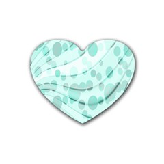Abstract Background Teal Bubbles Abstract Background Of Waves Curves And Bubbles In Teal Green Rubber Coaster (heart)