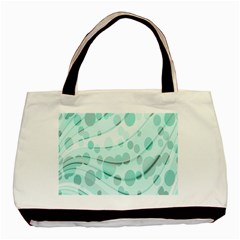 Abstract Background Teal Bubbles Abstract Background Of Waves Curves And Bubbles In Teal Green Basic Tote Bag (Two Sides)