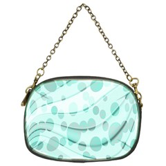 Abstract Background Teal Bubbles Abstract Background Of Waves Curves And Bubbles In Teal Green Chain Purses (two Sides)