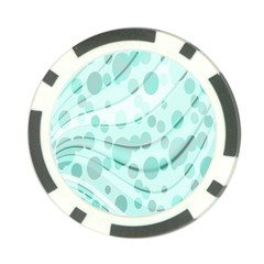 Abstract Background Teal Bubbles Abstract Background Of Waves Curves And Bubbles In Teal Green Poker Chip Card Guard (10 Pack)