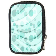 Abstract Background Teal Bubbles Abstract Background Of Waves Curves And Bubbles In Teal Green Compact Camera Cases