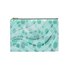 Abstract Background Teal Bubbles Abstract Background Of Waves Curves And Bubbles In Teal Green Cosmetic Bag (Medium)