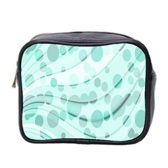 Abstract Background Teal Bubbles Abstract Background Of Waves Curves And Bubbles In Teal Green Mini Toiletries Bag 2 Side