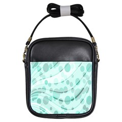 Abstract Background Teal Bubbles Abstract Background Of Waves Curves And Bubbles In Teal Green Girls Sling Bags