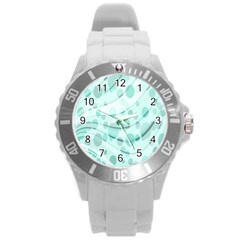 Abstract Background Teal Bubbles Abstract Background Of Waves Curves And Bubbles In Teal Green Round Plastic Sport Watch (l)