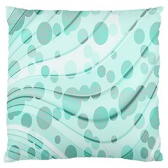 Abstract Background Teal Bubbles Abstract Background Of Waves Curves And Bubbles In Teal Green Large Cushion Case (One Side)