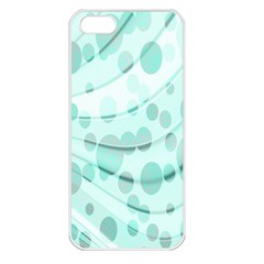 Abstract Background Teal Bubbles Abstract Background Of Waves Curves And Bubbles In Teal Green Apple iPhone 5 Seamless Case (White)