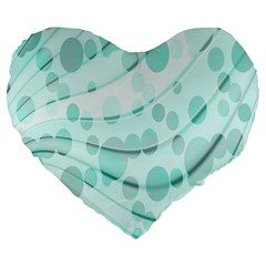 Abstract Background Teal Bubbles Abstract Background Of Waves Curves And Bubbles In Teal Green Large 19  Premium Heart Shape Cushions