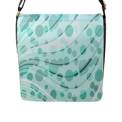 Abstract Background Teal Bubbles Abstract Background Of Waves Curves And Bubbles In Teal Green Flap Messenger Bag (L)