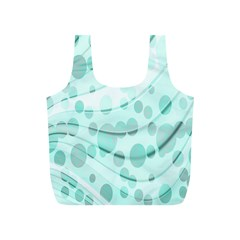 Abstract Background Teal Bubbles Abstract Background Of Waves Curves And Bubbles In Teal Green Full Print Recycle Bags (S)