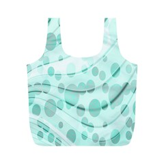 Abstract Background Teal Bubbles Abstract Background Of Waves Curves And Bubbles In Teal Green Full Print Recycle Bags (M)