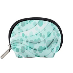 Abstract Background Teal Bubbles Abstract Background Of Waves Curves And Bubbles In Teal Green Accessory Pouches (Small)