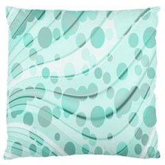 Abstract Background Teal Bubbles Abstract Background Of Waves Curves And Bubbles In Teal Green Large Flano Cushion Case (Two Sides)