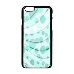 Abstract Background Teal Bubbles Abstract Background Of Waves Curves And Bubbles In Teal Green Apple Iphone 6/6s Black Enamel Case