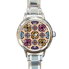 Abstract Seamless Background Pattern Round Italian Charm Watch
