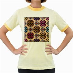 Abstract Seamless Background Pattern Women s Fitted Ringer T Shirts