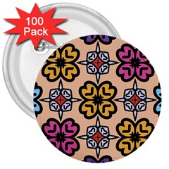 Abstract Seamless Background Pattern 3  Buttons (100 Pack)