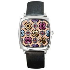 Abstract Seamless Background Pattern Square Metal Watch