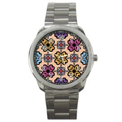 Abstract Seamless Background Pattern Sport Metal Watch