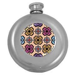 Abstract Seamless Background Pattern Round Hip Flask (5 oz)
