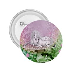 Wonderful Unicorn With Foal On A Mushroom 2.25  Buttons