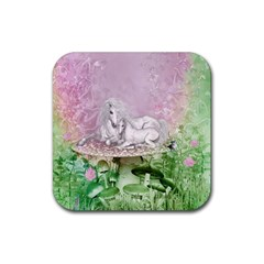 Wonderful Unicorn With Foal On A Mushroom Rubber Square Coaster (4 pack)
