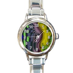Fractal In Purple Gold And Green Round Italian Charm Watch