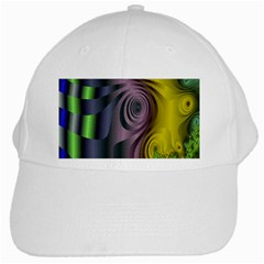 Fractal In Purple Gold And Green White Cap