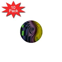 Fractal In Purple Gold And Green 1  Mini Buttons (10 Pack)