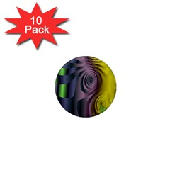 Fractal In Purple Gold And Green 1  Mini Magnet (10 pack)