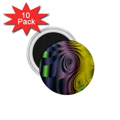 Fractal In Purple Gold And Green 1.75  Magnets (10 pack)