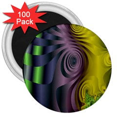 Fractal In Purple Gold And Green 3  Magnets (100 Pack)