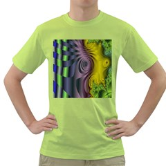 Fractal In Purple Gold And Green Green T Shirt