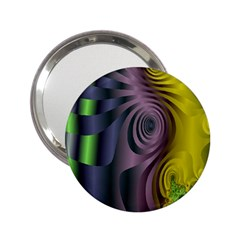 Fractal In Purple Gold And Green 2.25  Handbag Mirrors