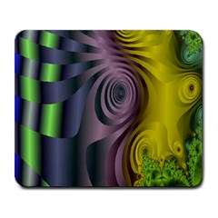 Fractal In Purple Gold And Green Large Mousepads