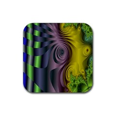 Fractal In Purple Gold And Green Rubber Square Coaster (4 Pack)