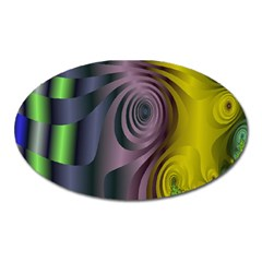 Fractal In Purple Gold And Green Oval Magnet