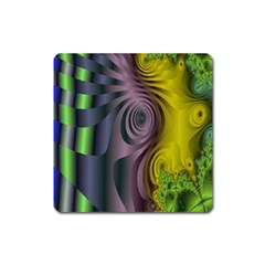 Fractal In Purple Gold And Green Square Magnet