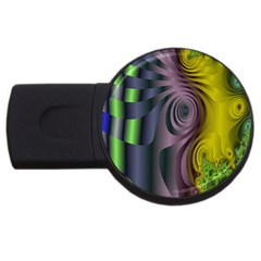 Fractal In Purple Gold And Green USB Flash Drive Round (2 GB)