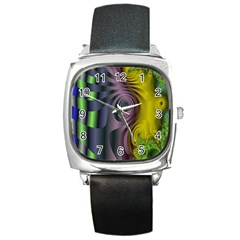 Fractal In Purple Gold And Green Square Metal Watch