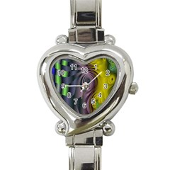 Fractal In Purple Gold And Green Heart Italian Charm Watch