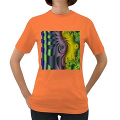 Fractal In Purple Gold And Green Women s Dark T-Shirt